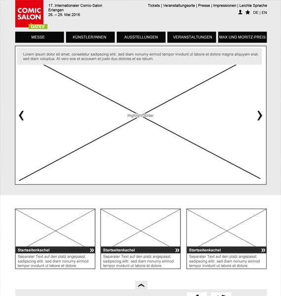 Comic Salon Website redesign: Wireframe Desktop