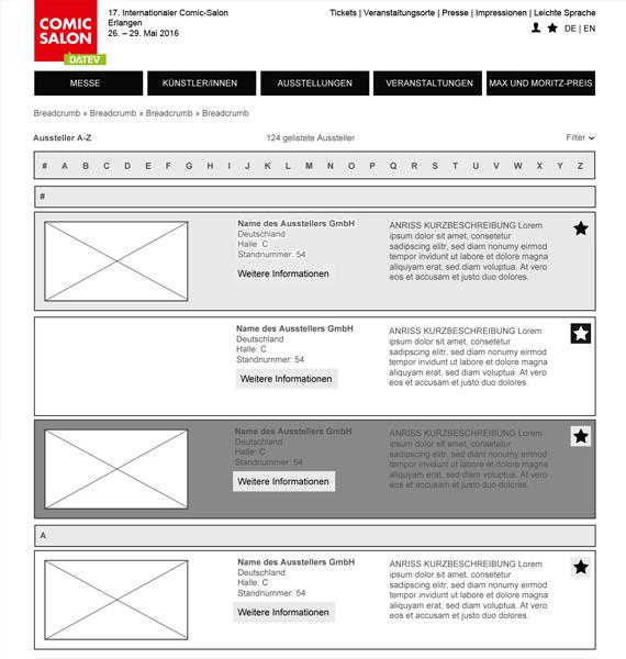 Comic Salon Website redesign: Wireframe Desktop