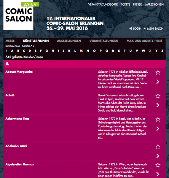 Comic Salon Website redesign: Final Layout
