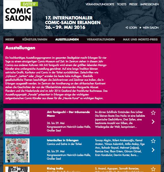 Comic Salon Website redesign: Final Layout